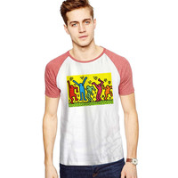Keith Haring Pop Art For Short Raglan Sleeves T-shirt, Red Tees, Black Tees, Blue Tees ***