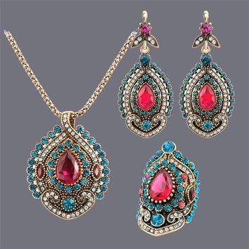 Fashion Indian Jewelry  Waterdrop Red  Crystal Rhinestone Necklace Earring Rings Antique Gold Plated for Ladies Gifts Set
