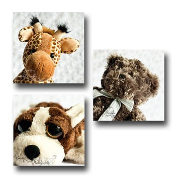 Nursery Prints 5x5 Set of Three Playroom Wall Decor Children's Gift Stuffed Animal Giraffe Monkey Penguin Sheep