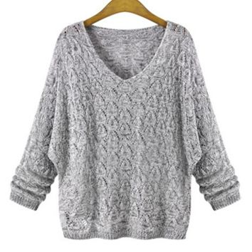 'Flore' Sheer V-neck Heather / Charcoal Grey Sweater