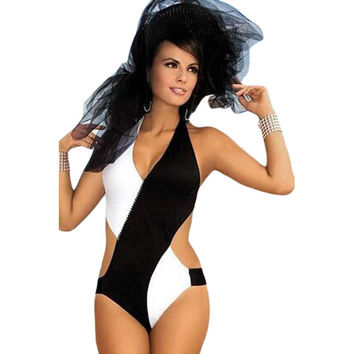 Cross Black White Color Block One Piece Swimsuit Halter Howllow Monokini High Cut Thong One Piece Swimwear