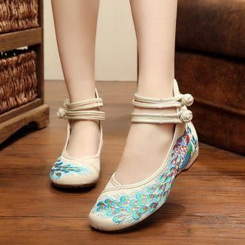 bright peacock embroidery women shoes size 75859  number 1