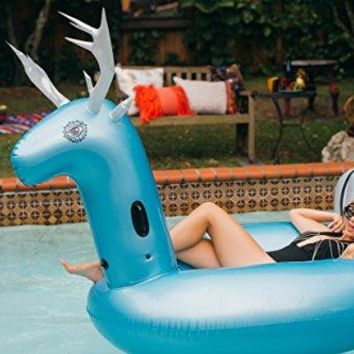 Unique Blue Reindeer Pool Float, Fits 2 Adults 55x47x108 Plus 2 Cup Holders, Non Toxin Inflatable Lounger With A Touchscreen Waterproof Phone Case