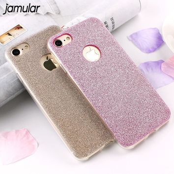 JAMULAR Ultra Thin Glitter Bling Cover Case For iPhone 6 6S 7 Plus 5s SE Soft Silicone Phone Cases for iPhone 7 8 Plus X Covers