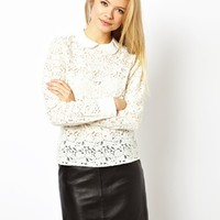ASOS Top with Peter Pan Collar in All Over Lace