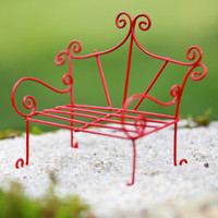 Fairy Garden Bench miniature furniture fairy accessories red terrarium whimsical style