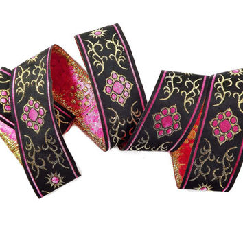 Pink Gold Black Ethnic Motif Woven Embroidered Jacquard Trim Ribbon - 1 Meter or 3.3 Feet or 1.09 Yards