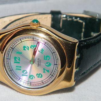 Vintage Ladies Spring Summer 1993 Swatch Swiss Greengammon Irony Medium LG100 Watch