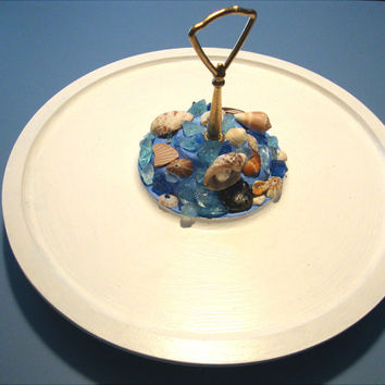 Cottage Chic Shabby Chic Lazy Susan rotating plate White with Sea Glass and Shells around center.Great Gift!