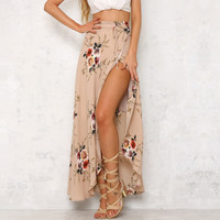 2018  Fashion Bohemian Flower Print Split ends Flare Maxi Skirt