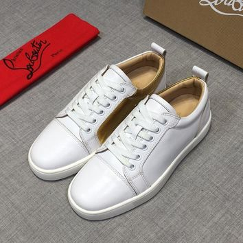 Christian Louboutin CL White Gold Leather Low Top Sneakers - Best Deal Online