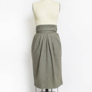 Vintage 1980s ESCADA Skirt - Wool Houndstooth Green High Waisted Gathered Pencil Skirt - Medium