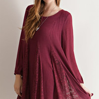 Lace Crinkle Shift Dress - Burgundy