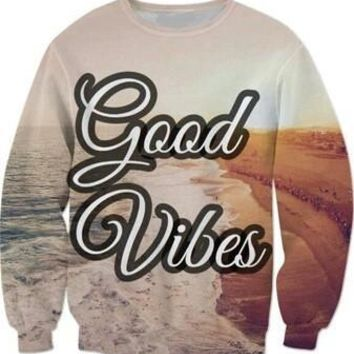 Good Vibes Beach All Over Full Print 3D Diy Sublimated Polyester Blend Unisex Crew Neck Sweatshirt