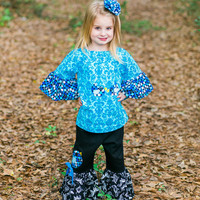 Little Girls Boutique Outfit - Toddler Girl Clothes - Ruffle Pants Outfit - Birthday - Blue - Peasant Top - 2pc Set - sz 2T to 8 years