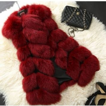 Burgundy Wine Plush Faux Fur Sleeveless Coat Vest