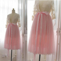 Pink Tutu Tulle Lace Skirt Pink Satin Sash belt Sweet Pastel Ballerina Puff Skirt Dress Beautiful Romantic Women's Fashion long petticoat