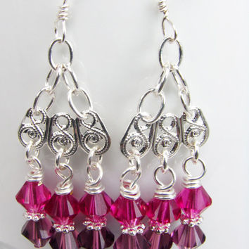 Fuchsia amethyst Swarovski crystals and silver chandelier earrings - chandelier earrings made with fuchsia and amethyst swarovski crystals
