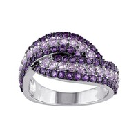 Rose de France & African Amethyst Sterling Silver Bypass Ring (Rose/Black/Amethyst)