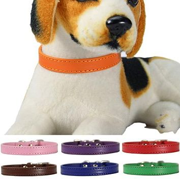 Fashion Adjustable Faux Leather Solid Color Dog Cat Puppy Neck Strap Pet Collar