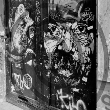 Black and White Photograph Amsterdam Graffiti by LeMaisonBelle