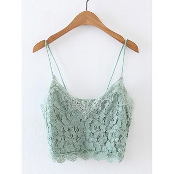 Lace Crop Cami Top Green