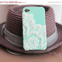 ON SALE Mint lace and pearl iphone case,iphone 5