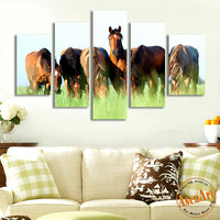 5 Panel Grasslands Animal Painting Horses Painting Home Decoration Wall Art Canvas Prints Picture for Living Room No Frame