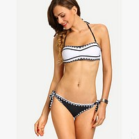 Fashion Halter Multicolor Print Strapless Bikini Set Swimsuit Swimwear