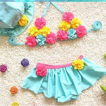 2 Two Piece Bikini Floral Skirt Type Summer Girls Swimwear Kids Bikinis Sets Two Piece Baby Swimsuit Beach Bathing Suits W/Cap 2018 DBO KO_21_2