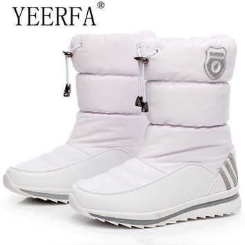 YIERFA Women snow boots 2017 new arrival warm plush winter shoes women platform shoes waterproof non-slip mid-calf boots