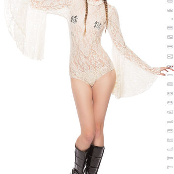 Stevie Bodysuit in White Lace