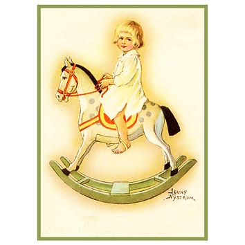 Young Child on Rocking Horse Jenny Nystrom Holiday Christmas Counted Cross Stitch Pattern