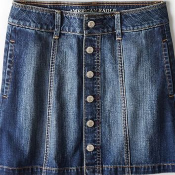 AEO Women's Button Down Denim Skirt (Medium Wash)