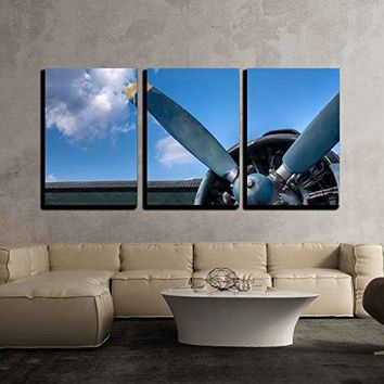 "wall26 - 3 Piece Canvas Wall Art - Propeller and Engine of Vintage Airplane - Modern Home Decor Stretched and Framed Ready to Hang - 24""x36""x3 Panels"