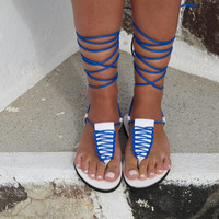 T-strap leather sandals in white with blue macrame decoration, CLIO 01, SS15
