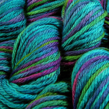 Hand Dyed Yarn - Bulky Weight Superwash Merino Wool Yarn - Aegean Multi - Knitting Yarn, Wool Yarn, Bulky Yarn, Turquoise