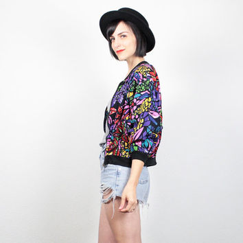 Vintage 80s Bomber Jacket SEQUIN Beaded Track Jacket Rayon Windbreaker Jacket 80s New Wave Rainbow Floral Mod Color Block S Small M Medium