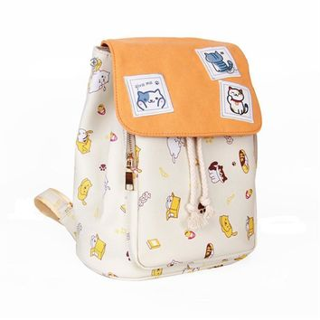 Game Neko Atsume Kawaii Cat Emoji Printing Pu Leather Backpack School Backpacks for Teenage Girls Canvas Mochila Women Bags