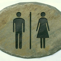 SLATE Unisex Restroom Bathroom Sign / Stone / Cabin Door / Women Men / Combo