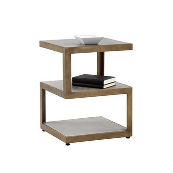 CUBIX ANTIQUE BRASS STEEL FRAME WITH CONCRETE TOP END TABLE