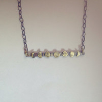 Moon phase bar necklace   Minimalist   Oxidized silver   Brass   Black and Gold