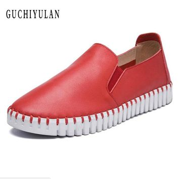 2018 Spring women sneakers oxford shoes flats shoes women leather boat shoes red round toe flats moccasins for women loafers