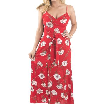 Women's Floral Print Maxi Dress with Front Slit