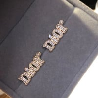 Dior full letter rhinestone shining earrings