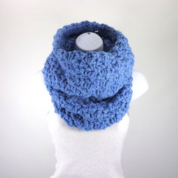 Chunky Cowl /SKY BLUE/, Unisex Chunky Neck Warmer, Men Woman Chunky Cowl Scarf, Gift Idea