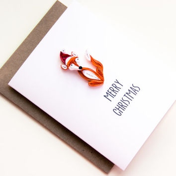 Fox Christmas Card - Merry Christmas Card - Whimsical Christmas Card