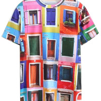 Multicolor 3D Allover Window Printed Unisex T-shirt