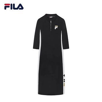 FILA 2019 new high-end women's casual sports knit stand collar dress