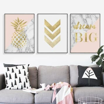 Pink and Gold Pineapple Dream Big Wall Art